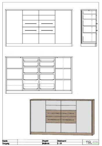 Schlaf kinder und jugendzimmer for Sideboard zeichnung